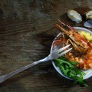 roasted black tiger prawn with rocket salad and dip as mediterra
